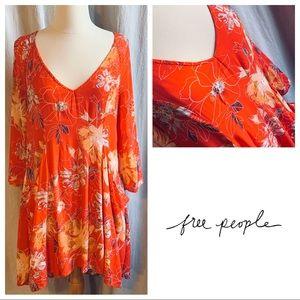 Free People Orange Pocket Floral Mini Dress Size 4